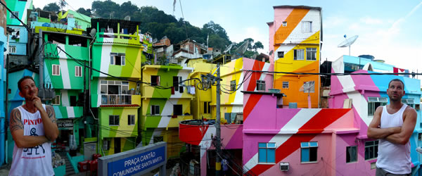 Khu phố Santa Marta Favela tại thành phố Rio de Janeiro, Brazil -
