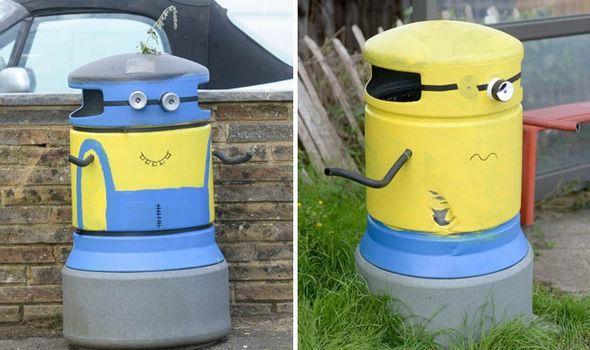 Hàng loạt thùng rác được sơn hình nhân vật hoạt hình Minion tại East Sussex, Anh. Điều đặc biệt là chúng được sơn bởi một nhân vật bí hiểm – đến bây giờ vẫn không ai biết là ai, và chỉ sau một đêm, sáng ra cư dân xung quanh đã thấy những thùng rác được đổi màu thú vị như thế này.