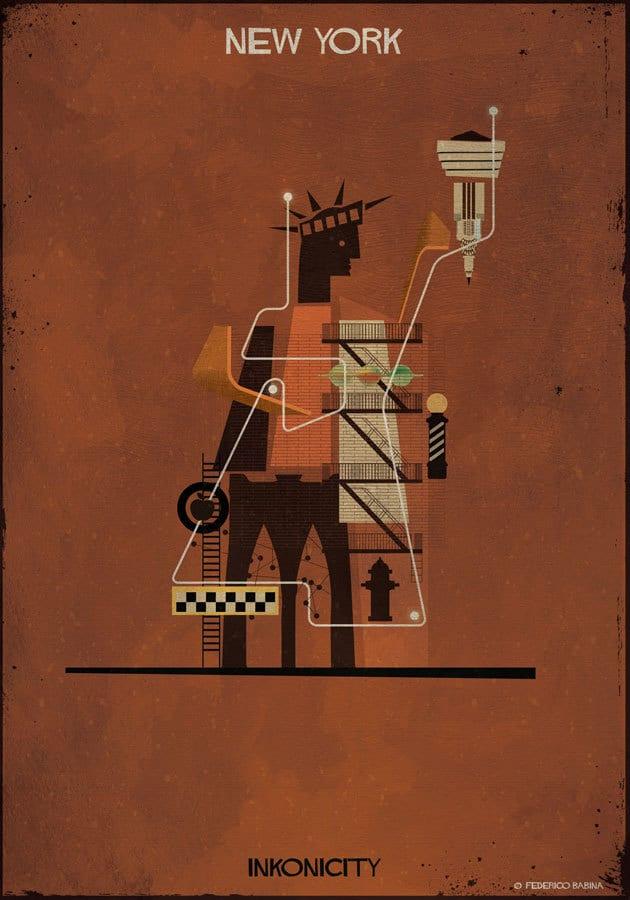 - New York nổi bật với tượng Nữ thần tự do, hình tượng tòa nhà chọc trời Empire State, Ga trung tâm Grand Center, Bảo tàng mỹ thuật Metropolitan, Cầu Brooklyn và Cảng Dumbo.