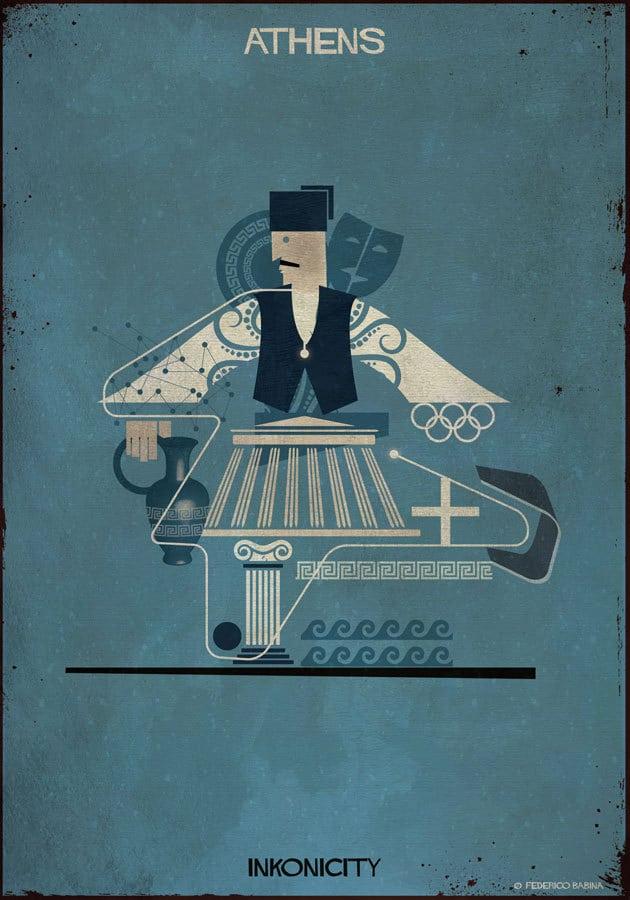 - Athens với Babina là thành phố của những tác phẩm kiến trúc, điêu khắc, chiêm tinh, hội họa và thế vận hội Olympic. Babina đã làm nổi bật về hình tượng thành phố của các vị thần qua biểu tượng của đền thờ thần Zeus. Athens được xem như là cái nôi của nền Văn minh phương Tây và là nơi khai sinh của khái niệm dân chủ.