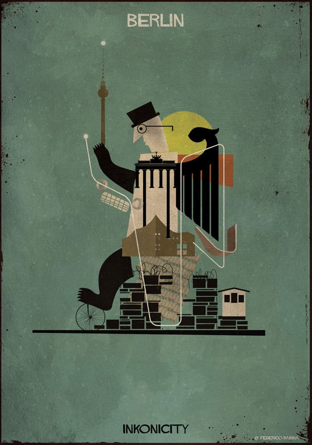 - 'Chú gấu' Berlin là một thành phố với văn hóa âm nhạc hết sức nổi trội với nhiều nhà hát, dàn hợp xướng và các đoàn hòa nhạc. Ngoài ra, ta còn thấy được biểu tượng của thành phố: cổng Brandenburg và tháp truyền hình Berlin Fernsehturm.
