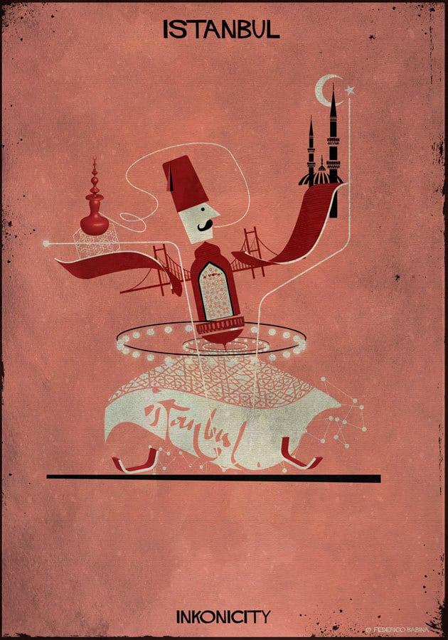 - Câu chuyện Istanbul huyền ảo được Babina minh họa nên từ cây cầu Vịnh Bopshorus nối liền hai châu lục Á u, đặt cùng biểu tượng của các thánh đường Hồi giáo nổi tiếng: Blue Mosque, Hagia Sophia, tháp Gatala. Ngành công nghiệp quan trọng nhất cũng được minh họa qua các biểu tượng về dệt may, đan thảm...