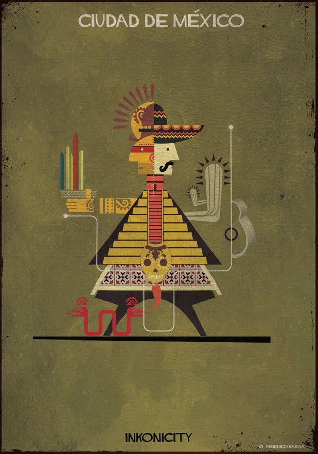 """- Với bức """"Mexico"""", Babina đã minh họa về hai nền văn minh đặc trưng lớn của Châu Mỹ là Maya và Aztec. Bức họa có chi tiết gợi về địa điểm xây dựng nên kinh đô thời tiền Colombo theo thần thoại Aztec. Không chỉ vậy, bức hình cũng đưa cho ta những hình dung nhất định về kiến trúc tiêu biểu của quần thể Kim Tự Tháp Chichen Itza nổi tiếng tại Mexico. Và tất nhiên, không thể thiếu mũ rộng vành Sombrero."""