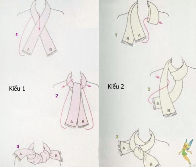 Kiểu 7 - Các cô nàng cá tính hẳn sẽ thích với lựa chọn kiểu quàng khăn thắt nút.