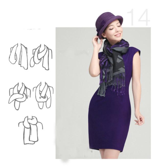 Kiểu 5 - Các cô nàng vẫn có thể trở nên ấn tượng, cuốn hút bởi kiểu thắt khăn dài đan vạt so le. Kiểu khăn nay thường được đi kèm với trang phục đơn giản như một bộ đầm trơn ôm sát cơ thể.