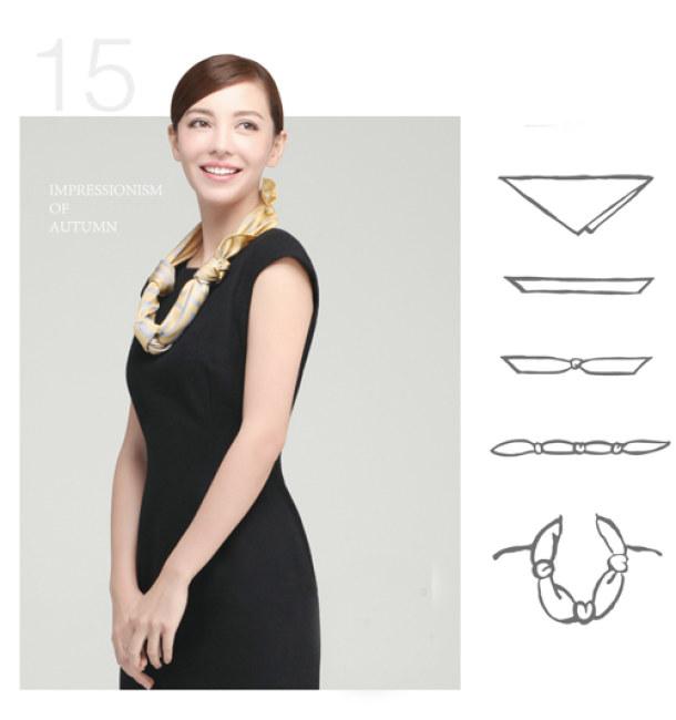 Kiểu 4 - Chỉ cần một đoạn thắt nút xinh xắn là bạn có thể biến tấu chiếc khăn yêu thích của mình theo một cách khác biệt hoàn toàn.