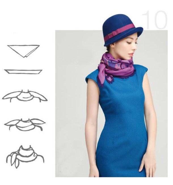 Kiểu 10 - Chiếc khăn được thắt gọn gàng nhưng không kém phần cầu kỳ giúp tăng thêm giá trị của phục trang. Kiểu thắt khăn kép cũng giúp các quý cô, quý bà trở nên sang trọng, cuốn hút hơn khi kết hợp cùng áo cổ lọ hay đầm trễ vai.