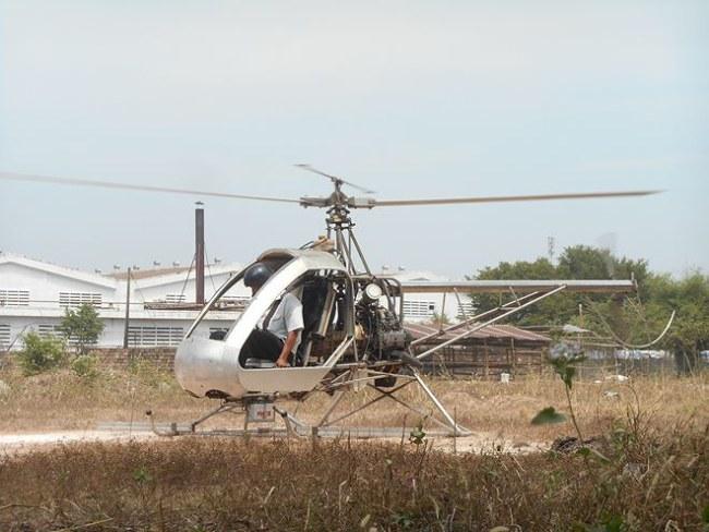 Trực thăng của ông Hiển trong một lần thử cất cánh.