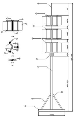 Hình 3: mô hình điện gió Darrieus