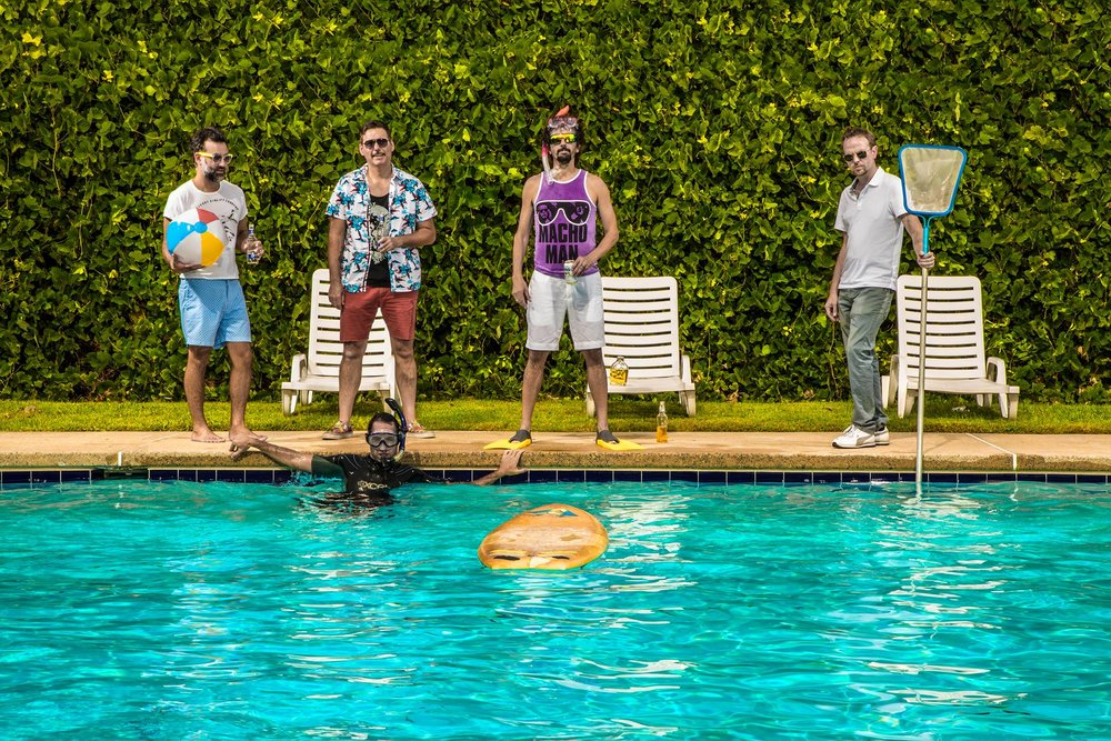 My Radio left to right: Brett Winter Lemon, Hunter Johnson, JP Powell, Jeff Hofmann and Jake Zuckerman (in the pool)  .
