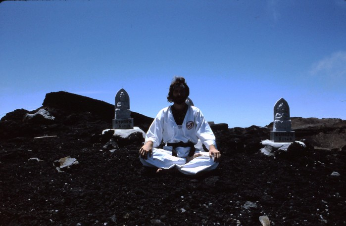 Chang Moo Kwan Grandmaster Jon Wiedenman trains atop Mt. Fuji in Japan (1984)