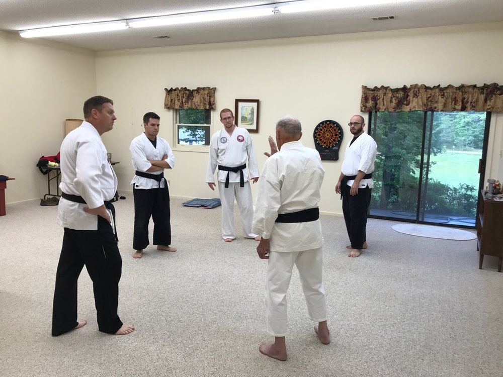 Mr. Mumpower teaches CVMA black belts in his home (2017).