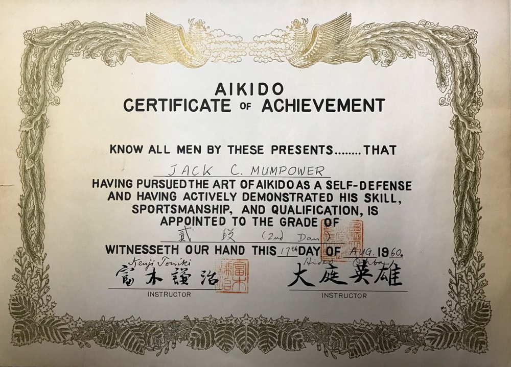 Jack Mumpower's Nidan certificate, awarded by Mr. Tomiki in 1960