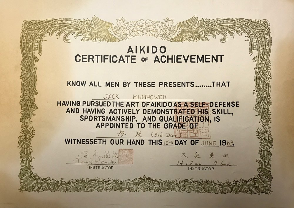 Jack Mumpower's Sandan certificate, awarded by Mr. Tomiki in 1963