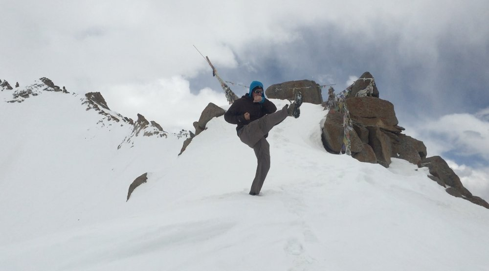 Jesse Boyd practices kata at 18,500 ft. in the Indian Himalaya