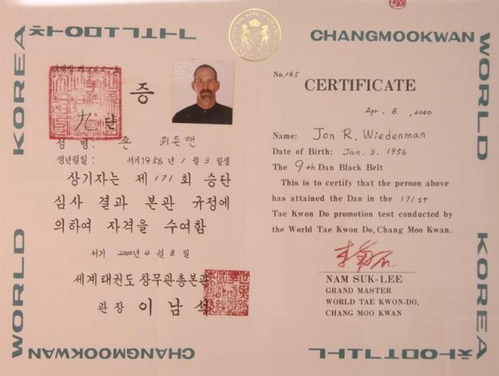 Jon Wiedenman's 9th Dan Certificate, signed by Nam Suk Lee