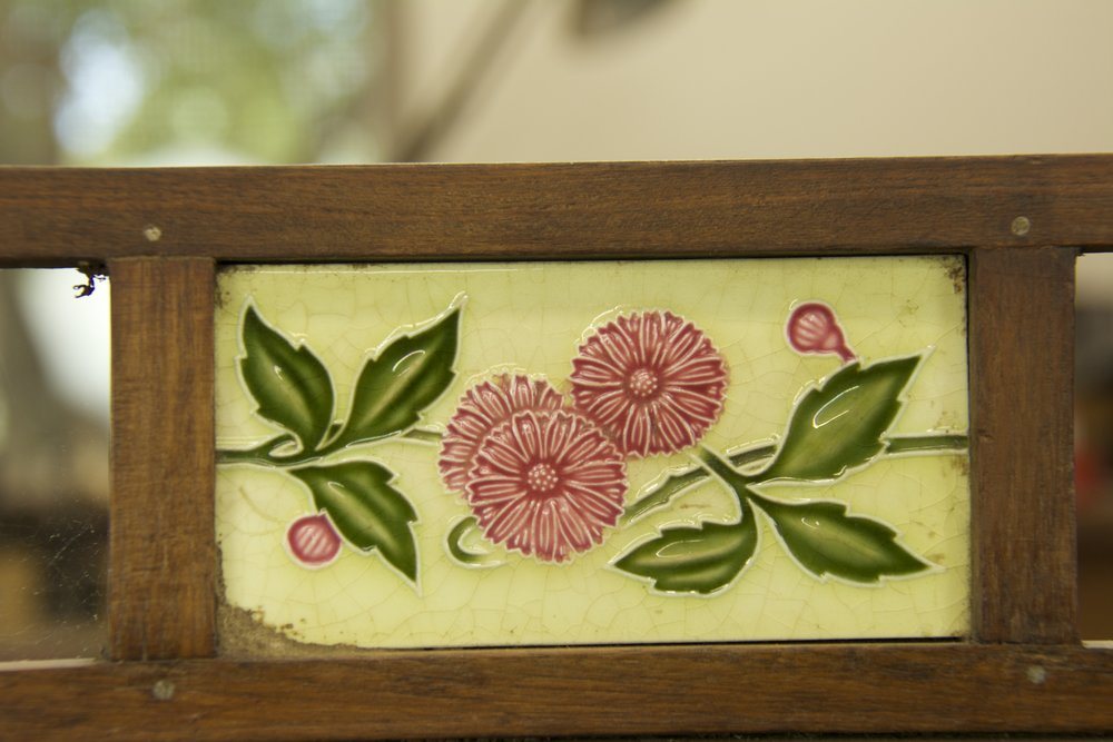 Flower Tile Almirah with Glass Doors