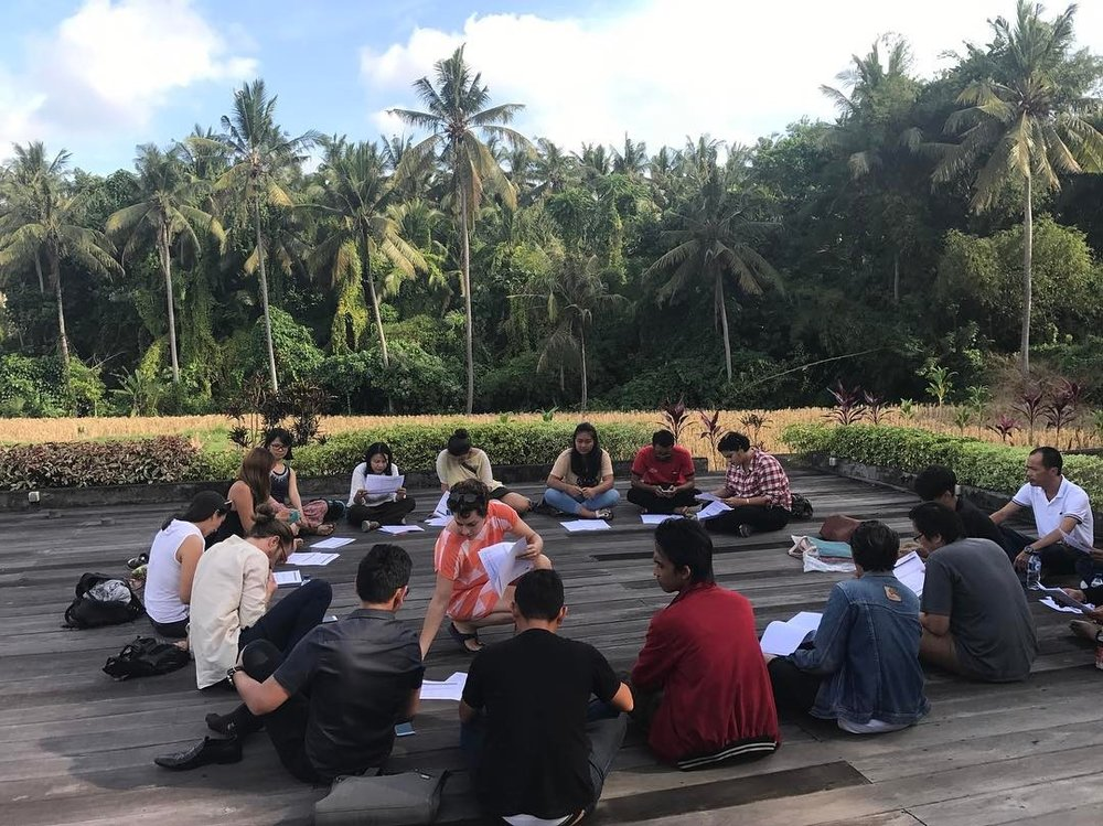 Our last production meeting before the big day! On a circle on the stage next to the rice fields, of course. #tedxubud #4daystogo  http://ift.tt/2pOr4D6