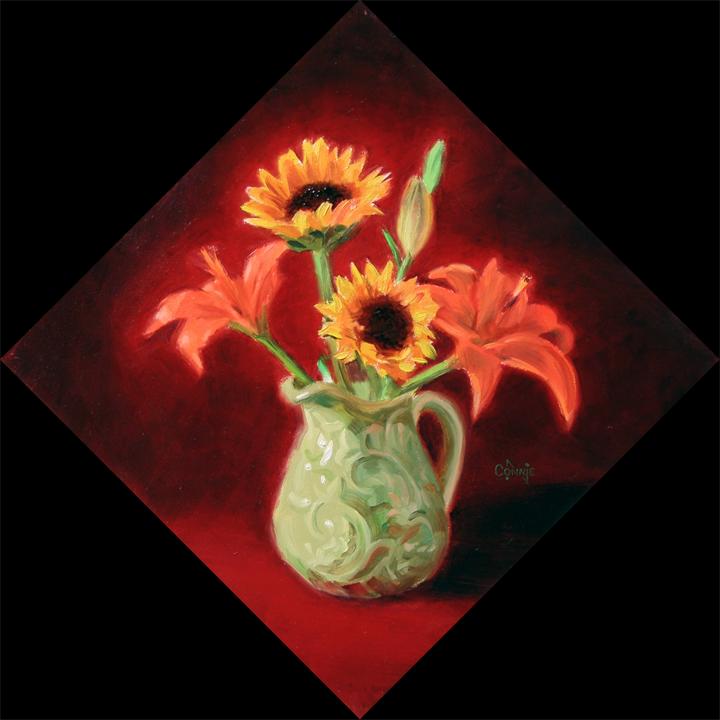 floral on red velvet - 6