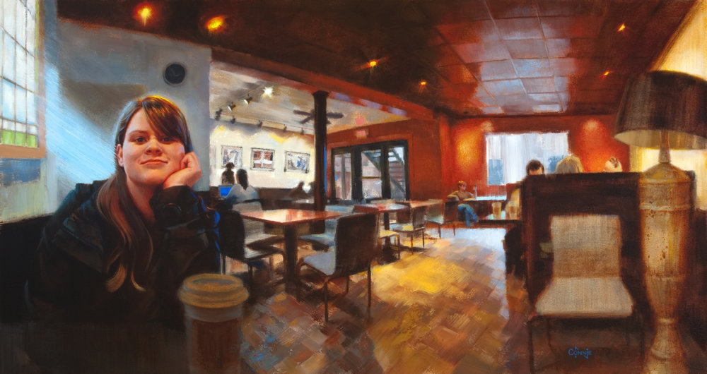 "Falling In Love at  The Cup ,   16"" x 30"",   oil"