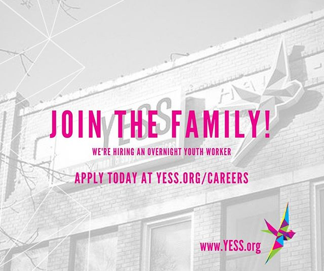 Join the YESS family! We're looking for an Overnight Youth Worker to join our Programs team!  The ideal candidate for this position will have a degree or diploma in Child and Youth Care or related Human Services and at least two years of experience in the field working with youth facing difficult realities.  Apply at YESS.org/careers
