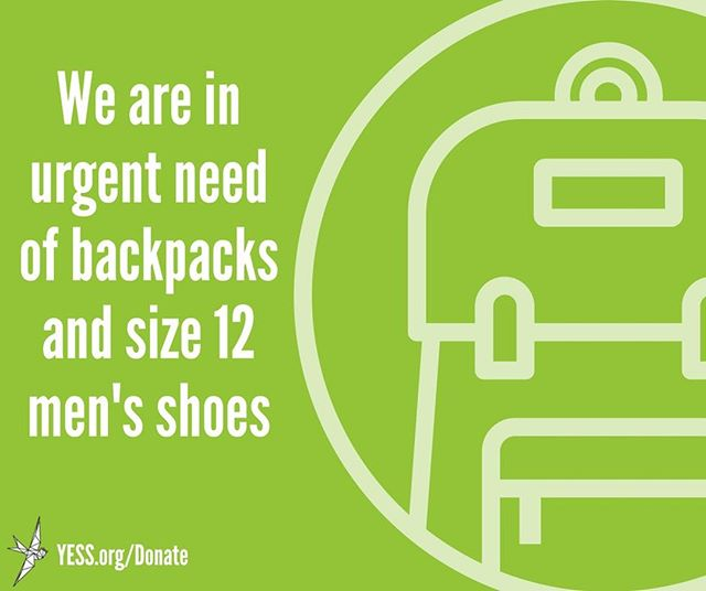 We're in urgent need of good, sturdy backpacks and size 12 men's shoes! New or gently used are A-OK!  We are happy to take donations at our Whyte Avenue facility, located at 9310 82 Avenue, Edmonton, between the hours of 9AM-4:30PM, Monday to Friday. After-hours in-kind donations can be dropped off in the white metal bins at the back of our Whyte Ave building.