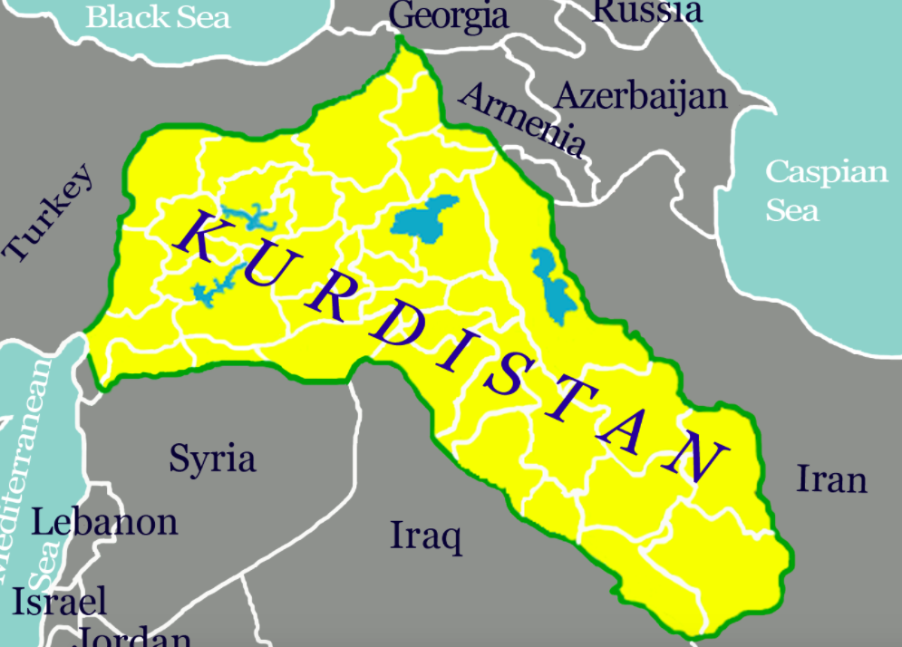 Map of Kurdistan's geographical location