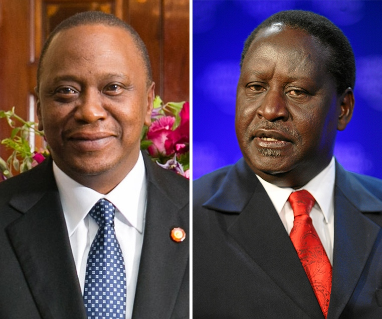 Left: President Uhuru Kenyatta, Right:Ralia Odinga