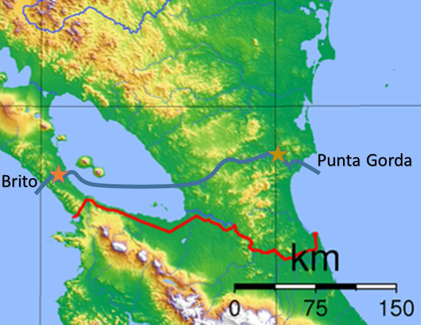 Map of Nicaragua Canal (blue) and Panama Canal (red)