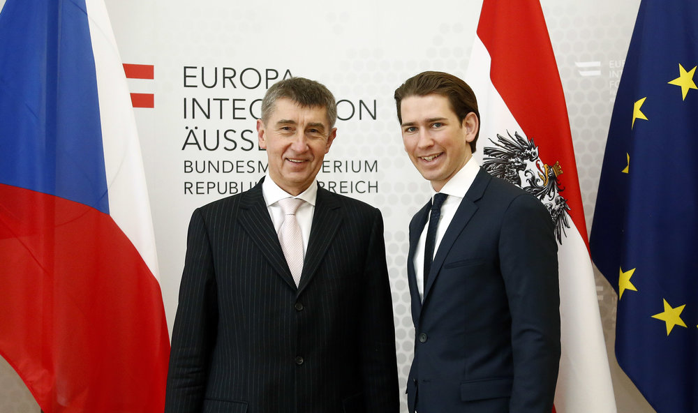 Deputy Prime Minister Andrej Babis (right) and AustrianFederal Minister Sebastian Kurz (left)