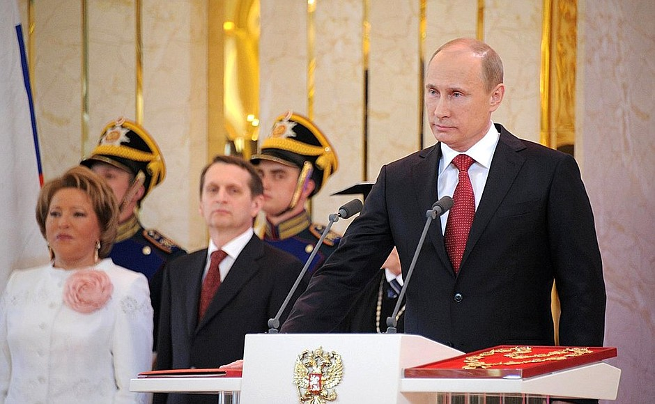 Vladimir Putin inaugurated as President of Russia in 2012