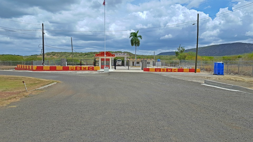 Entrance to the Guantanamo Bay Prison Complex, Cuba.