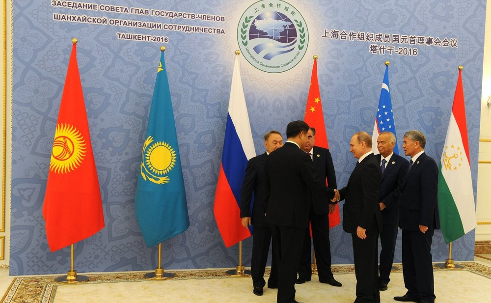 President Vladimir Putin meeting with leaders from Central Asia at the 2016 Shanghai Cooperation Organisation Council of Heads of State, held in Uzbekistan.