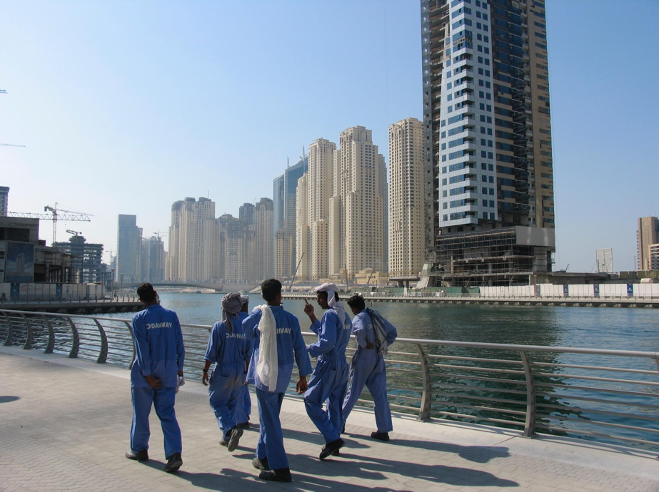 Migrant construction workers in Dubai.