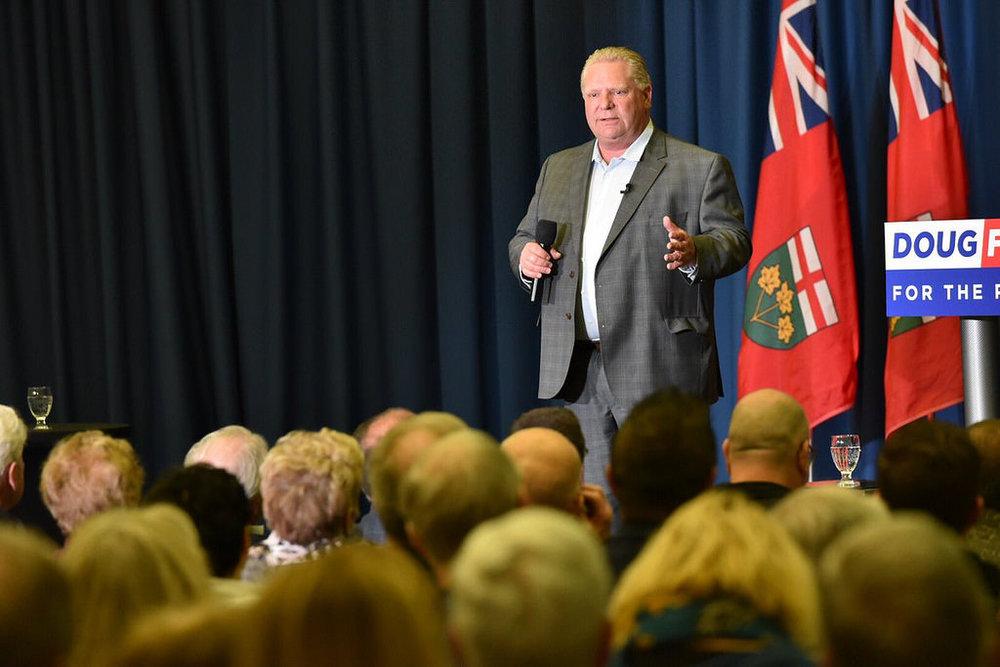 Then Progressive Conservative Leader Doug Ford Speaking in Sudbury, Ontario.