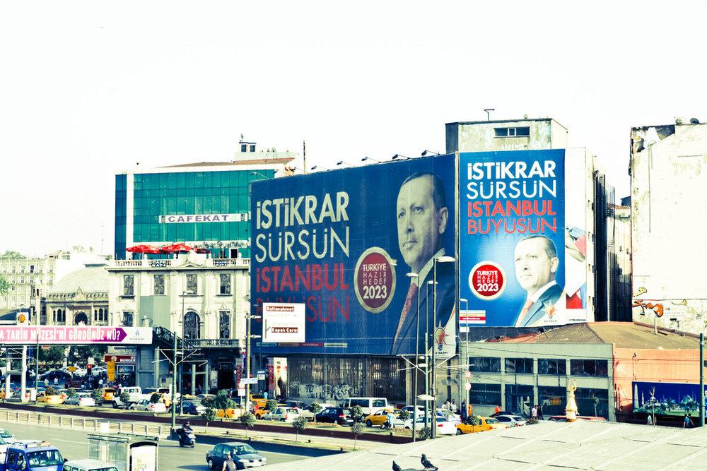 President Erdogan's campaign billboards, which can be found throughout Turkey.