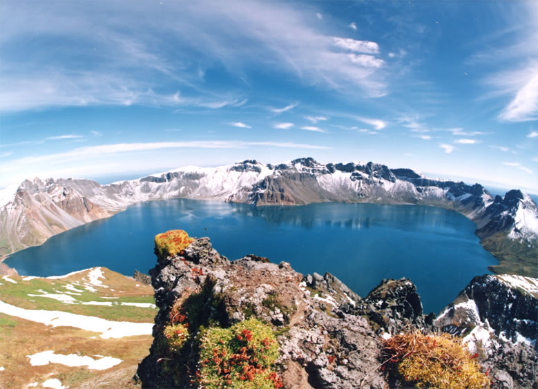 Heaven Lake, Paektu Mountain, North Korea. Chairman Kim and President Moon visited this sacred mountain during their summit.