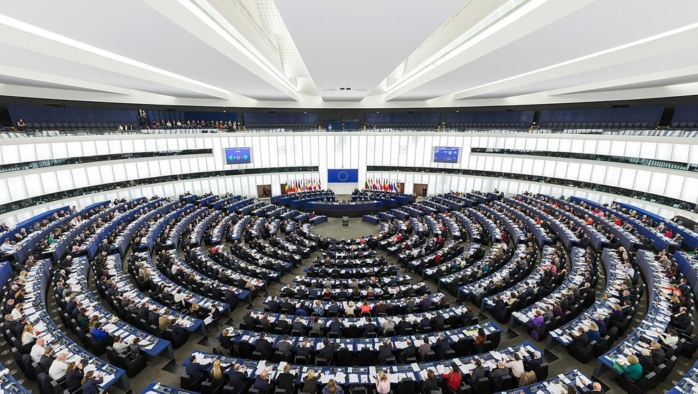 The Hemicycle of the European Parliament in Strasbourg during a plenary session in 2014.