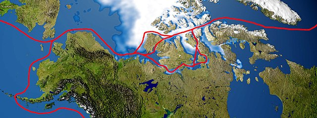 Map of potential Northwest Passage shipping routes.
