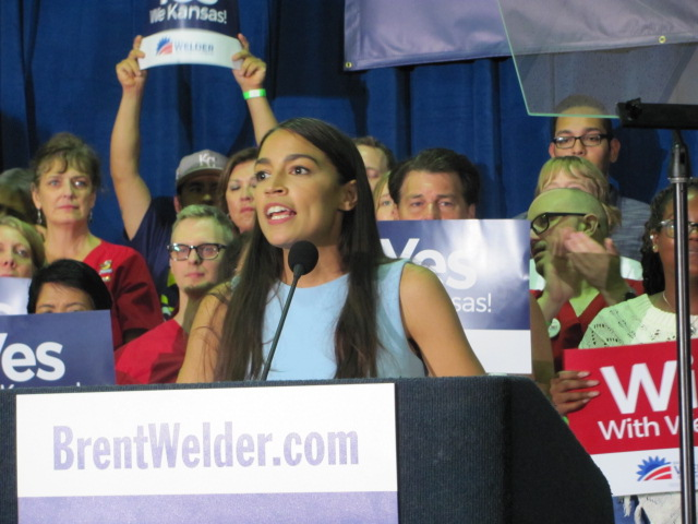 Alexandria Ocasio-Cortez  at the Reardon Convention Center in Kansas City, on 20 July 2018.