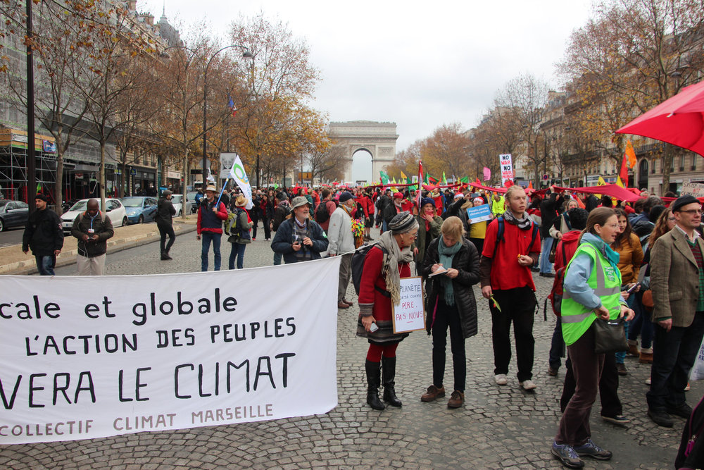 Thousands of Parisiens and many others from around Europe marched from the Arc de Triumphe to the Eiffel Tower for climate action and climate justice.