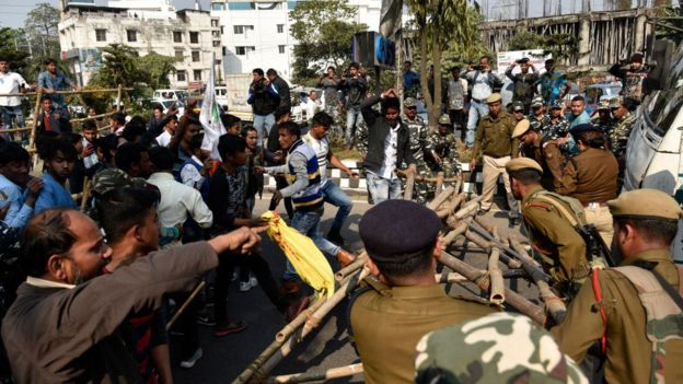 Protests in Assam courtesy of  BBC