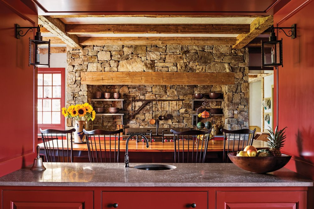The Stone Range Surround In Kitchen Is Designed To Recall An Antique Fireplace