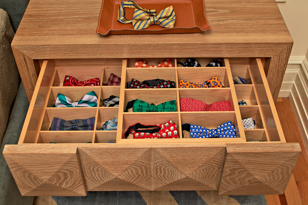 A Custom Drawer Is Created For A Young Gentlemanu0027s Collection Of Bow Ties.