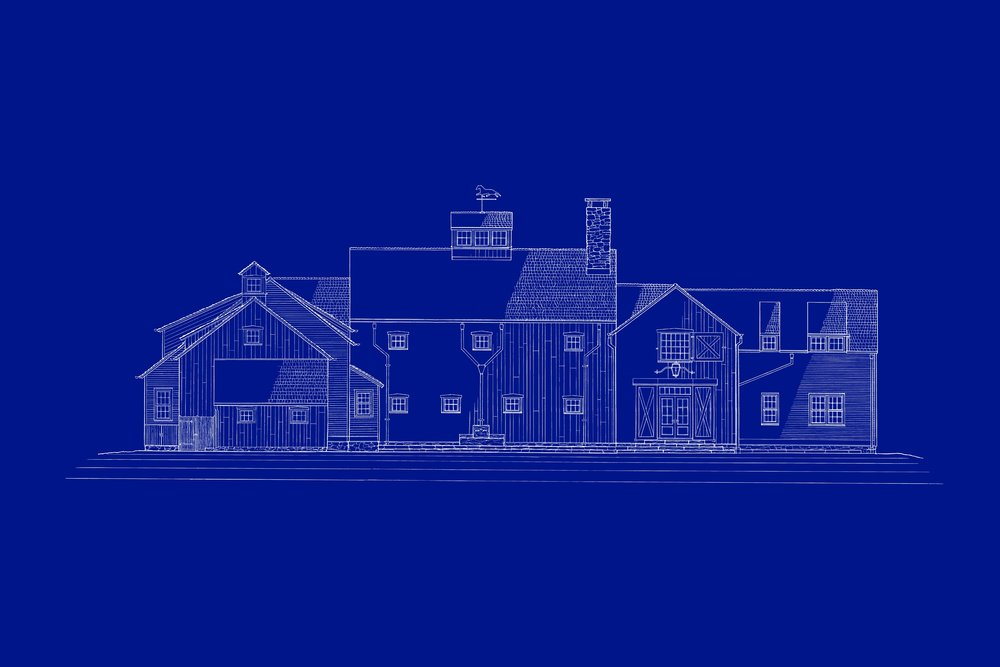 This blueprint cover sheet illustrates the final front elevation of the home.
