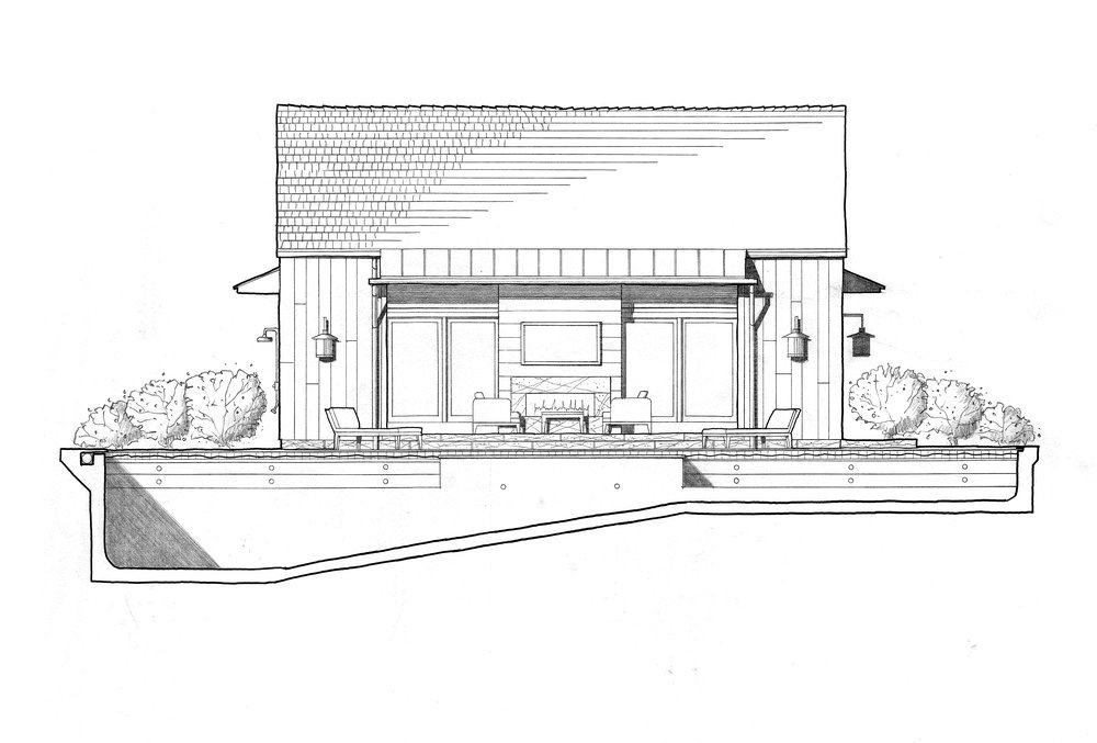 The swimming pool in this drawing is shown in section to illustrate the profile of its interior.