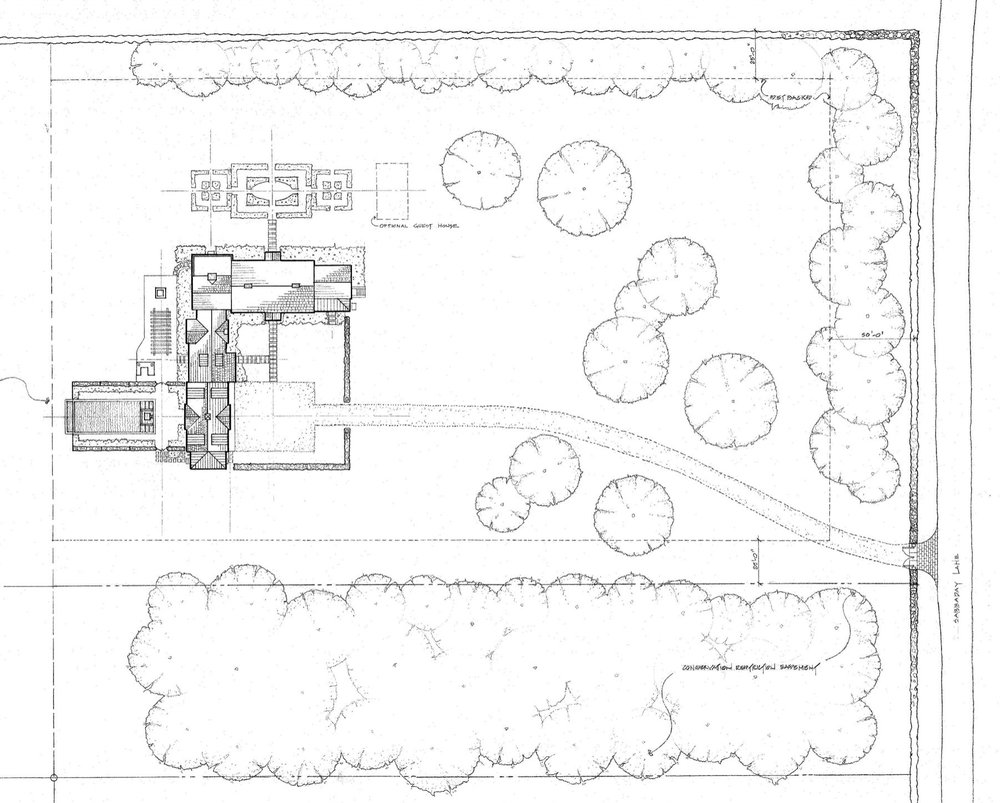 The site plan of this expanded Georgian home illustrates the relationships between the house and the entrance courtyard, swimming pool, terrace and formal garden.