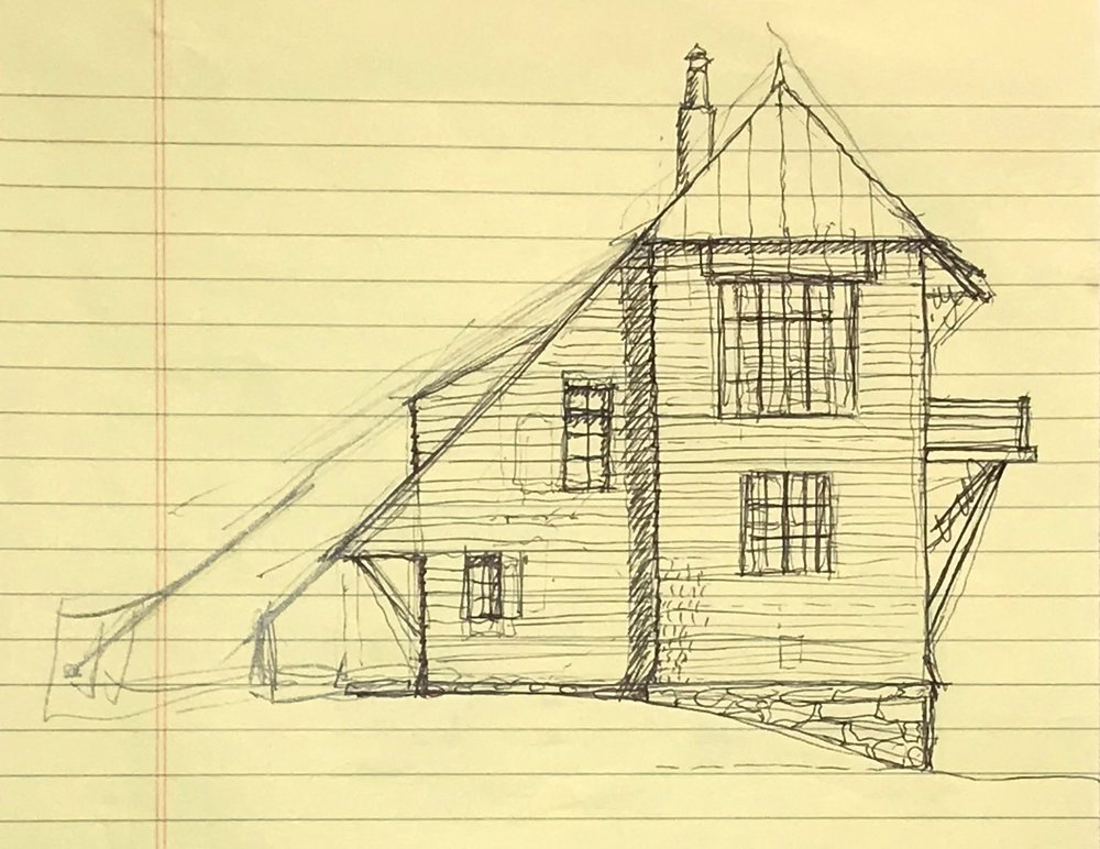 This inital sketch for a hilltop tower house shows the very early thought process.