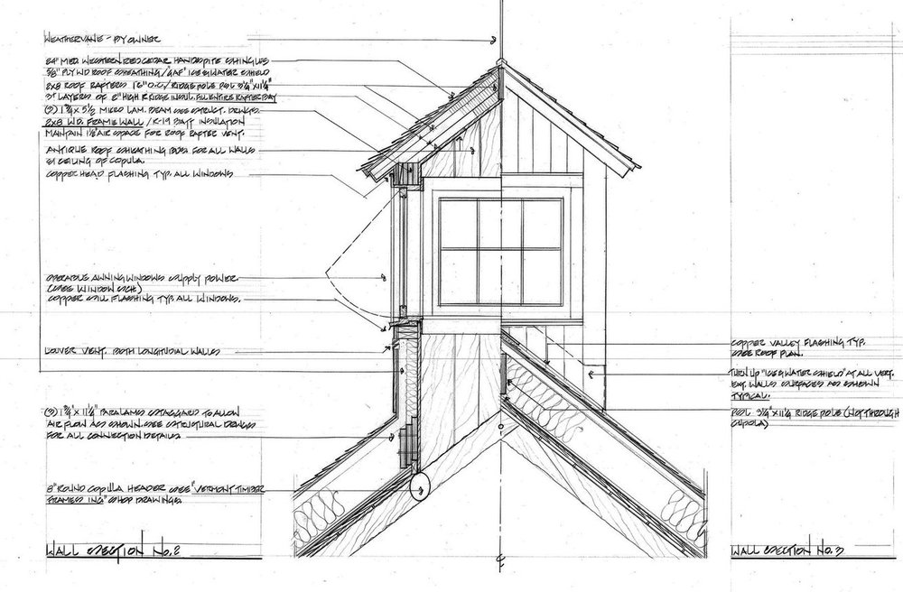 This section shows the exterior profile of a cupola as well as a very detailed description of its construction.