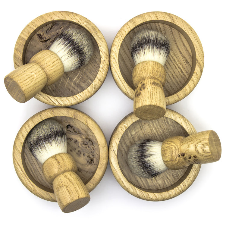 Each bowl and brush is unique. Four sets pictured, one set included.